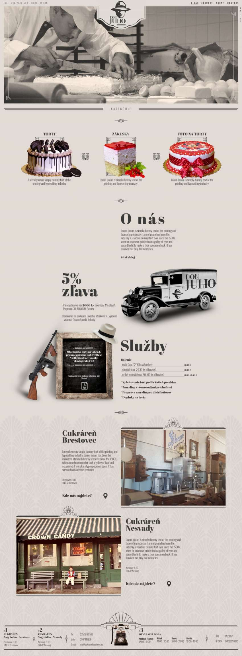 Don Julio - cukráreň - webdesign | Grafikerik